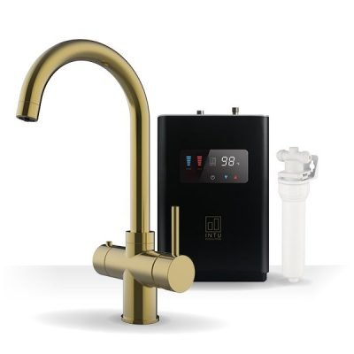 Asprey Brushed Gold & Luxe Noir 3-1 Swan Instant Boiling Water Tap