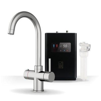 Asprey Brushed Nickel & Luxe Noir 3-1 Swan Instant Boiling Water Tap