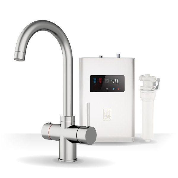Asprey Brushed Nickel & Luxe White 3-1 Swan Instant Boiling Water Tap
