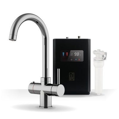 Asprey Chrome & Luxe Noir 3-1 Swan Instant Boiling Water Tap