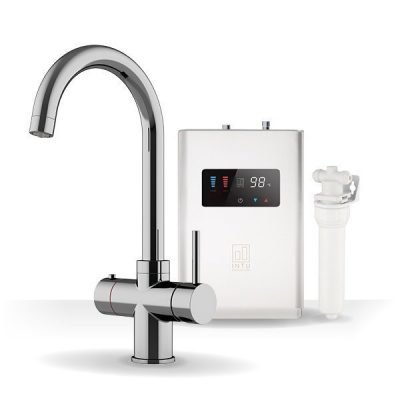 Asprey Chrome & Luxe White 3-1 Swan Instant Boiling Water Tap