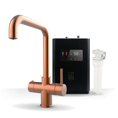 Expression Brushed Copper & Luxe Noir 3-1 Square Instant Boiling Water Tap