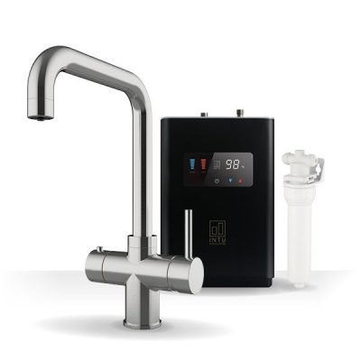 Expression Brushed Nickel & Luxe Noir 3-1 Square Instant Boiling Water Tap