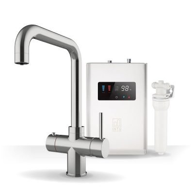 Expression Brushed Nickel & Luxe White 3-1 Square Instant Boiling Water Tap