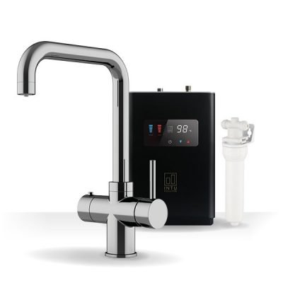 Expression Chrome & Luxe Noir 3-1 Square Instant Boiling Water Tap