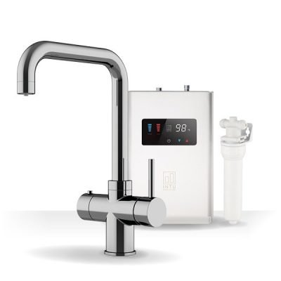 Expression Chrome & Luxe White 3-1 Square Instant Boiling Water Tap
