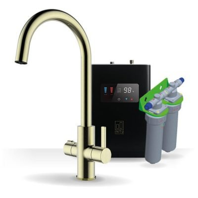Elite Brushed Gold & Luxe Noir 4-1 Swan Instant Boiling Water Tap