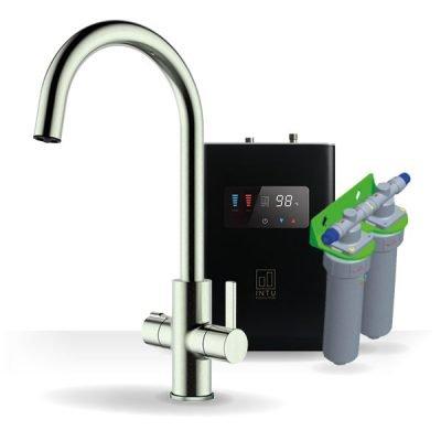 Elite Brushed Nickel & Luxe Noir 4-1 Swan Instant Boiling Water Tap