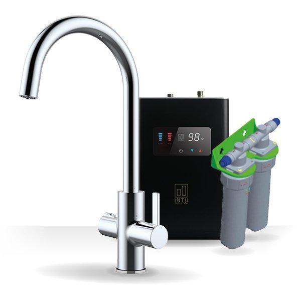 Elite Chrome & Luxe Noir 4-1 Swan Instant Boiling Water Tap