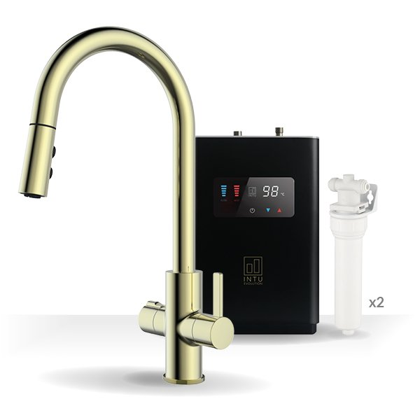 Form Brushed Gold & Luxe Noir 4-1 Pull Down Spray Instant Boiling Water Tap