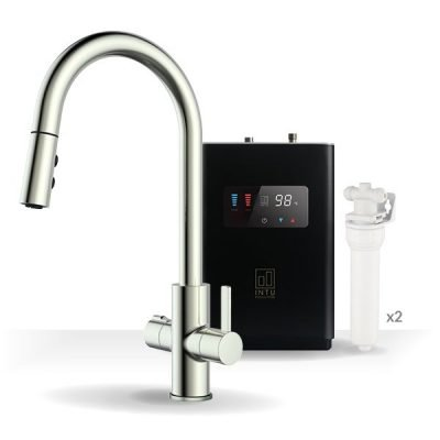 Form Brushed Nickel & Luxe Noir 4-1 Pull Down Spray Instant Boiling Water Tap