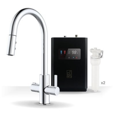 Form Chrome & Luxe Noir 4-1 Pull Down Spray Instant Boiling Water Tap