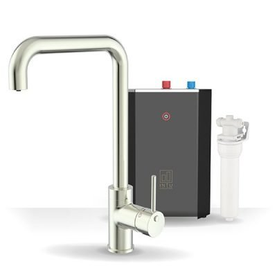 Urban Brushed Nickel & Solo Noir 3-1 Square Instant Boiling Water Tap