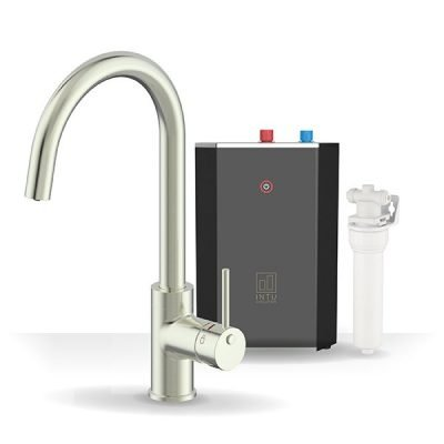 Chique Brushed Nickel & Solo Noir 3-1 Swan Instant Boiling Water Tap