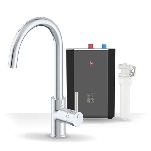Chique Chrome & Solo Noir 3-1 Swan Instant Boiling Water Tap
