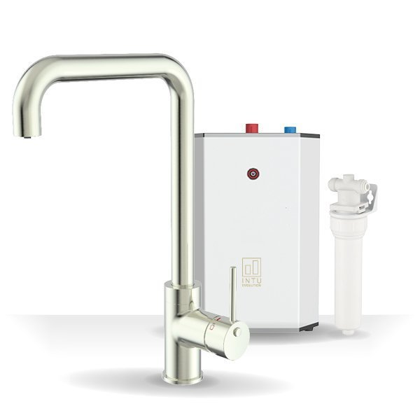 Urban Brushed Nickel & Solo White 3-1 Square Instant Boiling Water Tap
