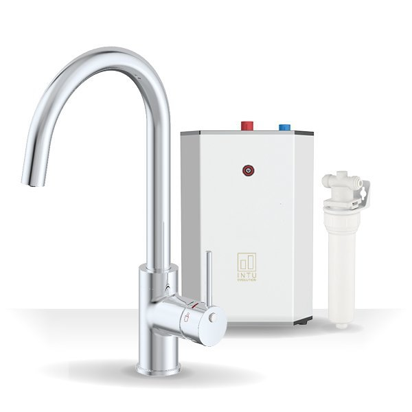 Chique Chrome & Solo White 3-1 Swan Instant Boiling Water Tap