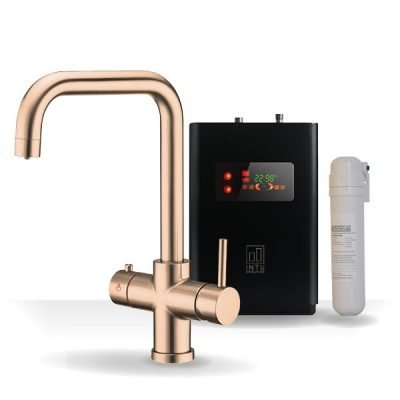 4OUR Brushed Copper & Apex 4-1 Square Instant Boiling Water Tap