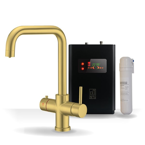 4OUR Brushed Gold & Apex 4-1 Square Instant Boiling Water Tap