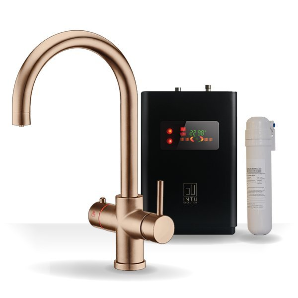 4OUR Brushed Copper & Apex 4-1 Swan Instant Boiling Water Tap