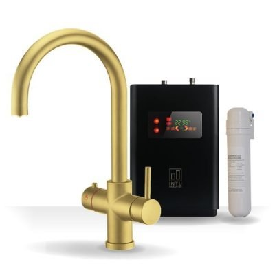4OUR Brushed Gold & Apex 4-1 Swan Instant Boiling Water Tap