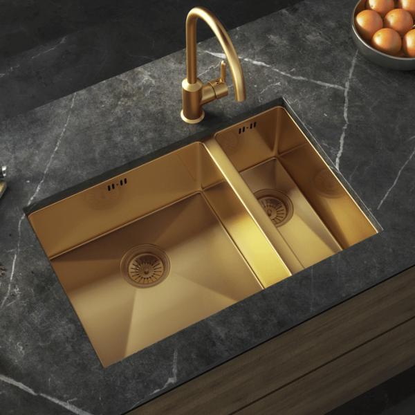 INTU 1.5 Bowl Inset or Undermounted Gold Kitchen Sink & Waste