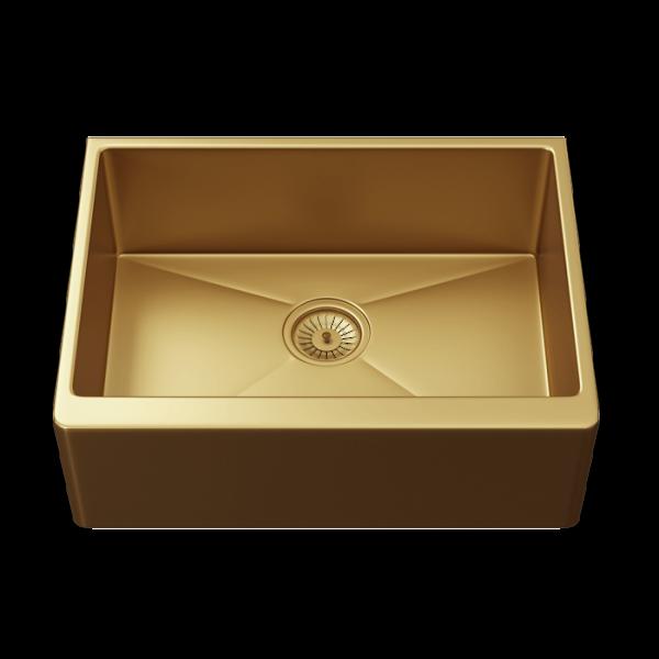 INTU Single 1 Bowl Gold Belfast Style Sink & Waste
