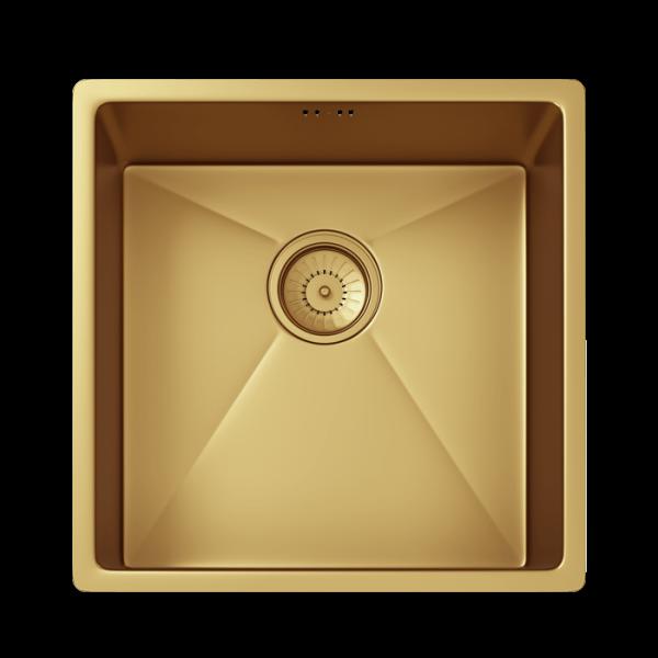 INTU Single 1 Bowl Inset or Undermounted Gold Kitchen Sink & Waste