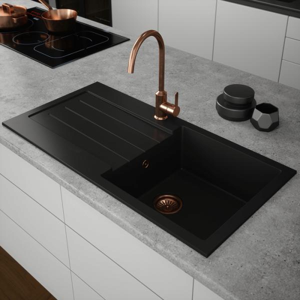 INTU Single 1 Bowl  Inset Comite Black Kitchen Sink & Drainer