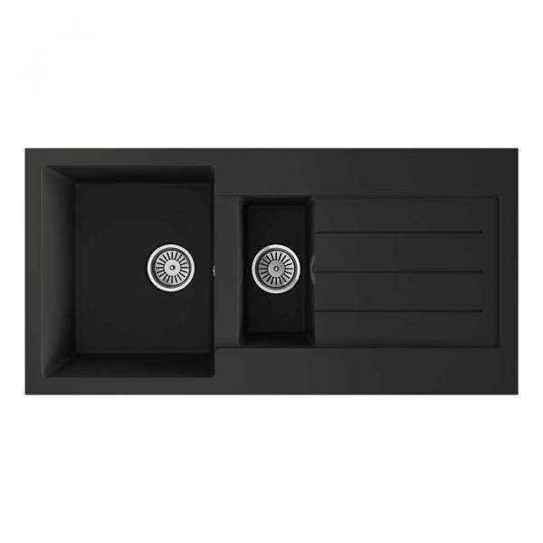 INTU 1.5 Inset Comite Bowl Black Kitchen Sink & Drainer