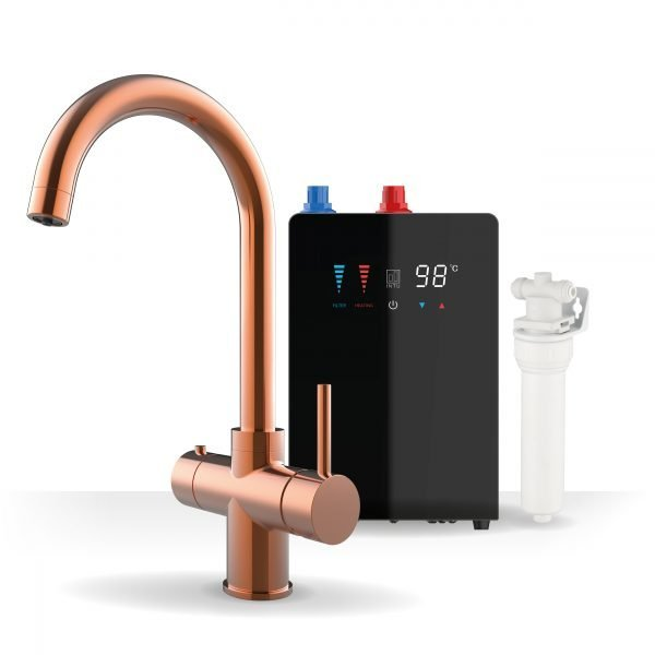 Asprey Brushed Copper & Nexus Noir 3-1 Swan Instant Boiling Water Tap