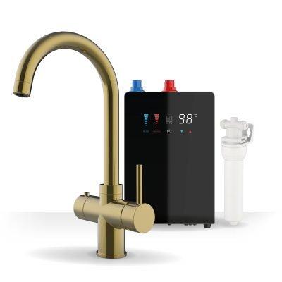 Asprey Brushed Gold & Nexus Noir 3-1 Swan Instant Boiling Water Tap
