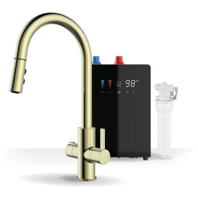 Form Brushed Gold & Nexus Noir 4-1 Pull Down Spray Instant Boiling Water Tap